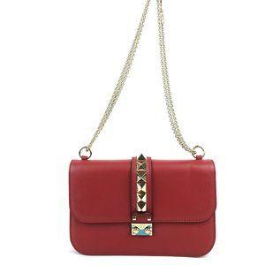 Valentino Garvani Red Leather Rockstud Glam Lock